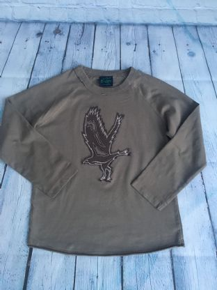 Mini Boden taupe coloured applique eagle top